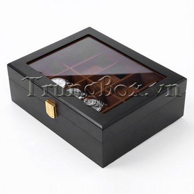 Hộp Đựng Đồng Hồ 10 Ngăn Vỏ Gỗ Sơn Mài Đen - Mã 532N - Trung Box - Hình 2