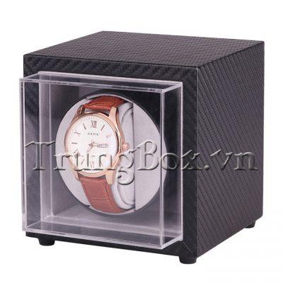 Hộp Đựng Đồng Hồ Cơ 1 Xoay + 0 Trưng Bày Vỏ Da Carbon - Mã 810T | TrungBox - Hình 2